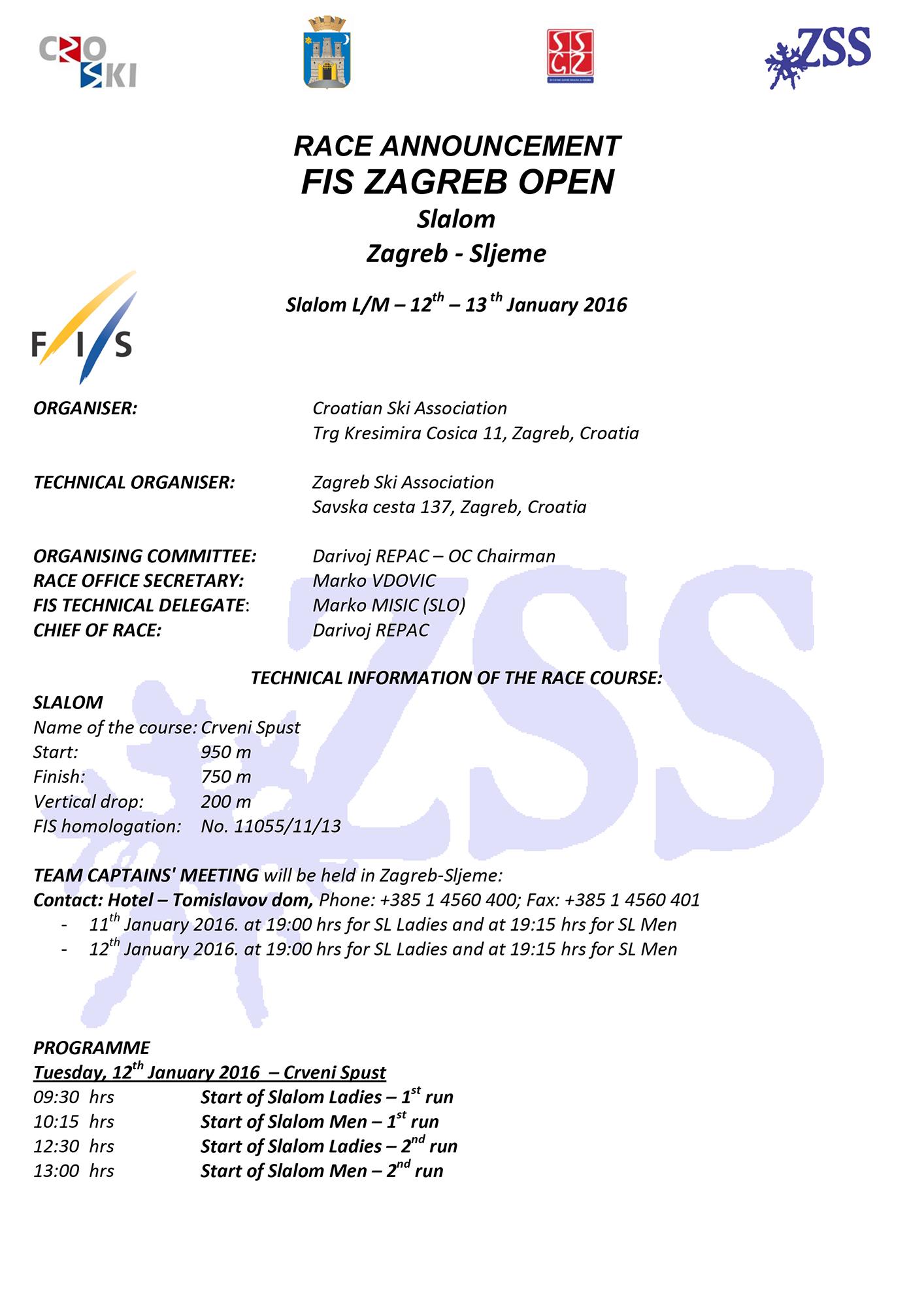 Raspis za FIS - engleski
